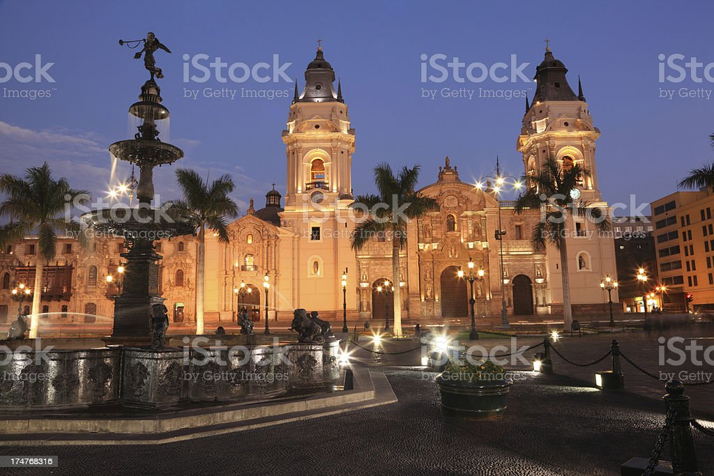 Plaza Mayor and the Cathedral of Lima, Peru stock photo