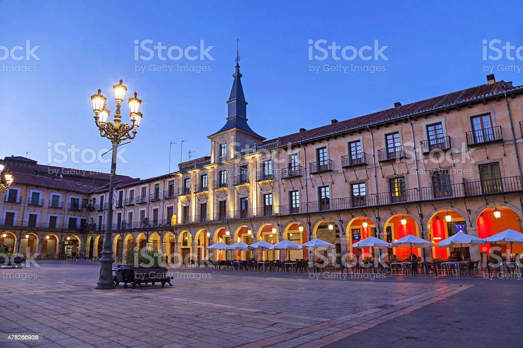 Plaza Mayor in the evening, Leon stock photo