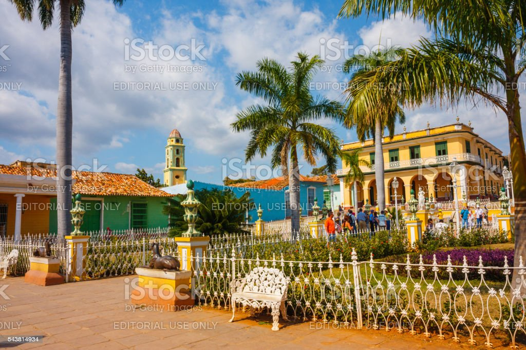 Plaza Mayor in Trinidad, Cuba stock photo