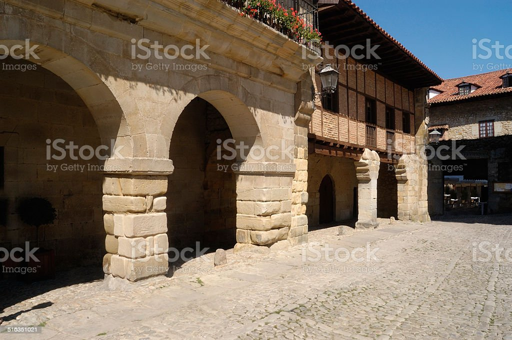 Plaza Mayor, Santillana del Mar,Cantabria stock photo