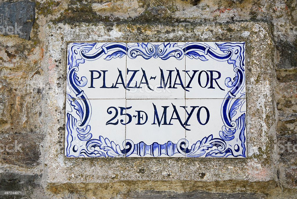 Plaza Mayor street sign royalty-free stock photo