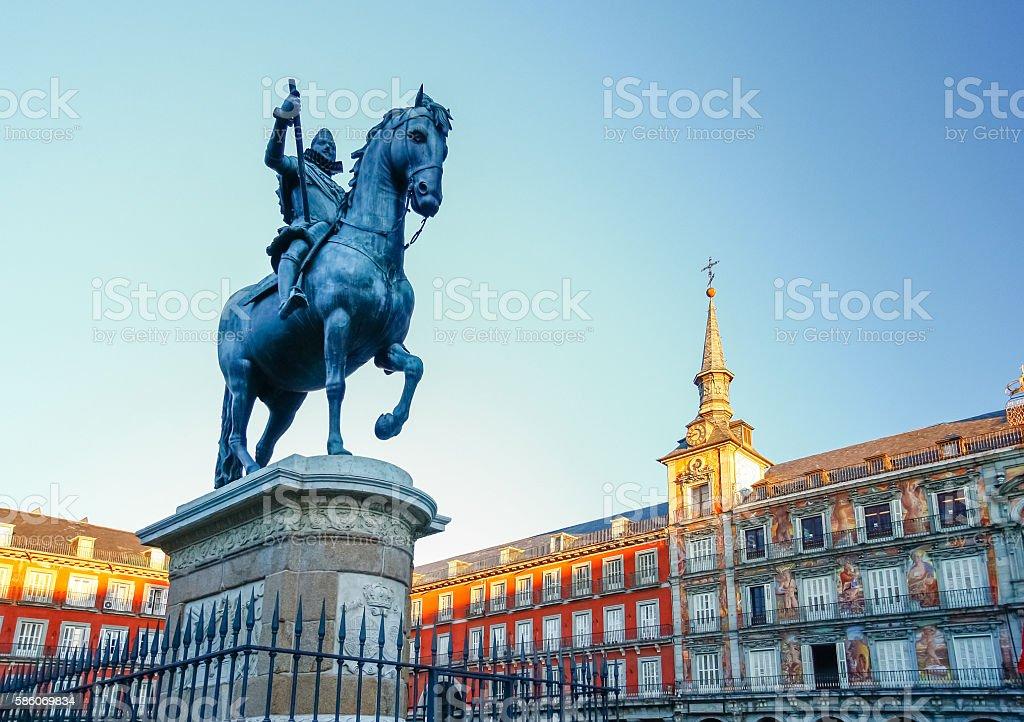 Plaza Mayor with statue of King Philips III in Madrid stock photo
