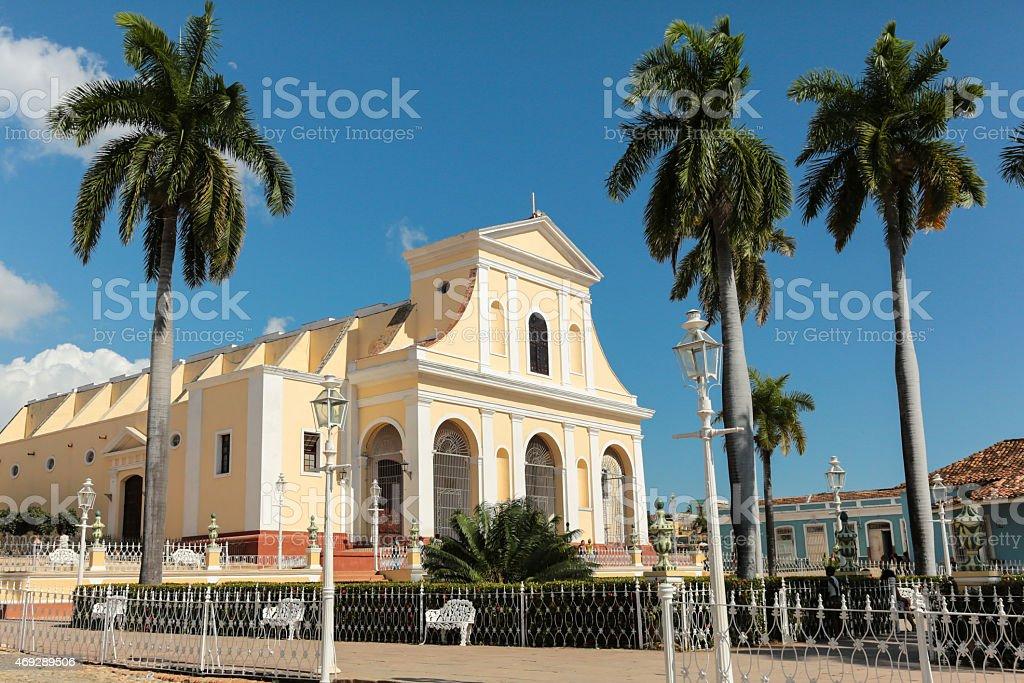 Plaza Mayor with the Church of the Holy Trinity stock photo