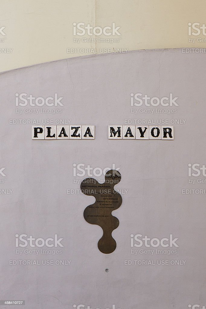 Plaza Mayor written on Espacio Metropol Parasol stock photo