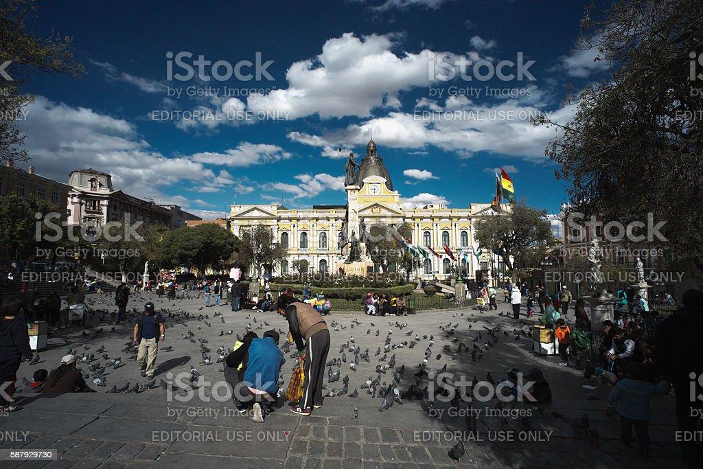Plaza Murillo in La Paz stock photo