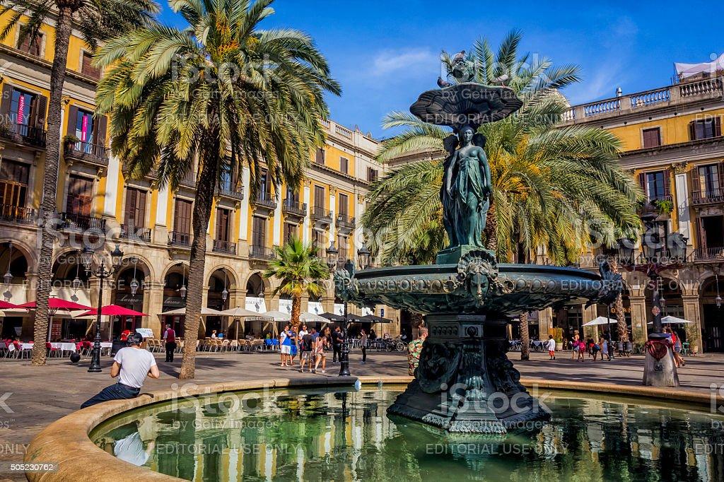 Plaza Real, Barcelona, Spain stock photo
