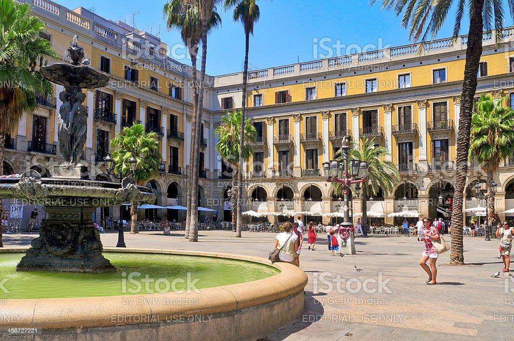 Plaza Real in Barcelona, Spain stock photo