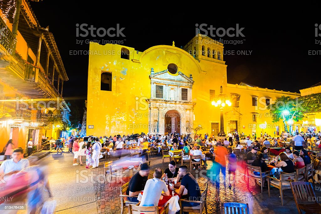 Plaza Santo Domingo in Cartagena, Colombia stock photo