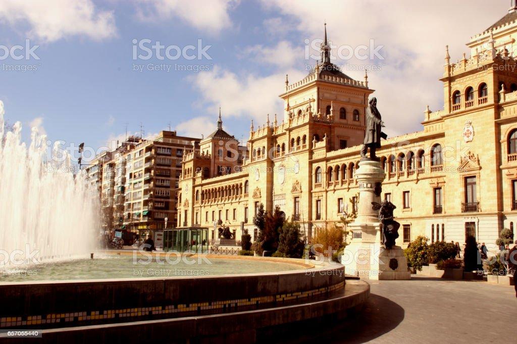 Plaza zorilla in valladolid spanish city stock photo