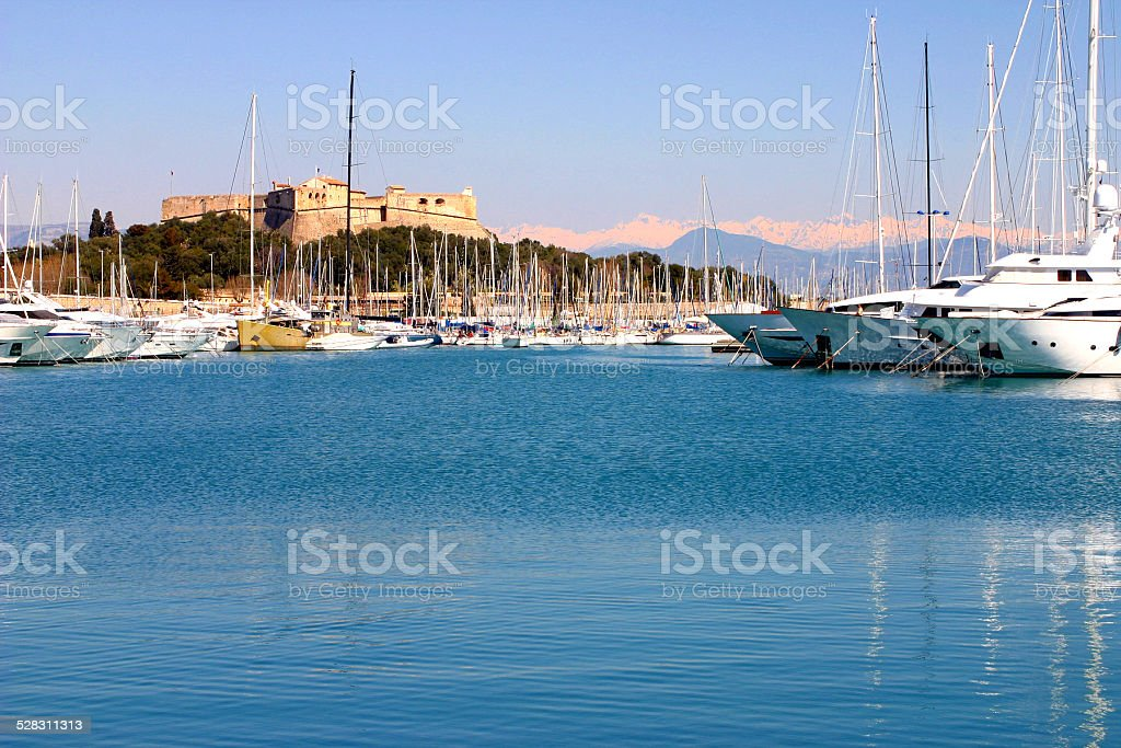 Pleasant afternoon in Antibes harbor, the biggest in the World stock photo