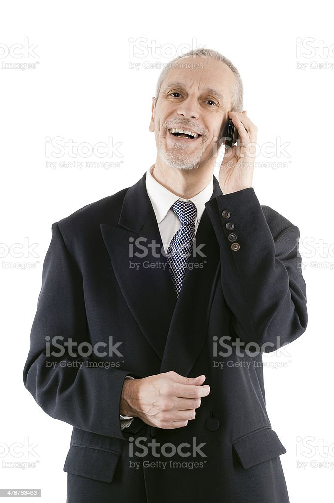 Pleasant and laughing Businessman on Phone stock photo