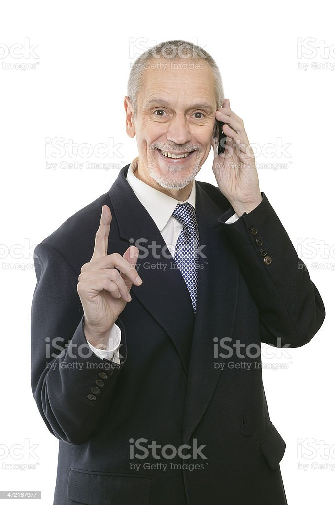 Pleasant and Smiling Businessman on Phone stock photo