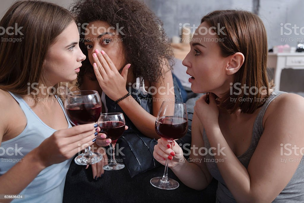 Pleasant friends drinking wine and gossiping stock photo