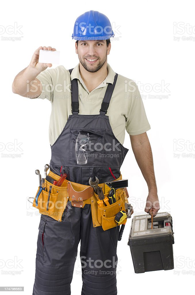 Pleasant handy man, contractor royalty-free stock photo