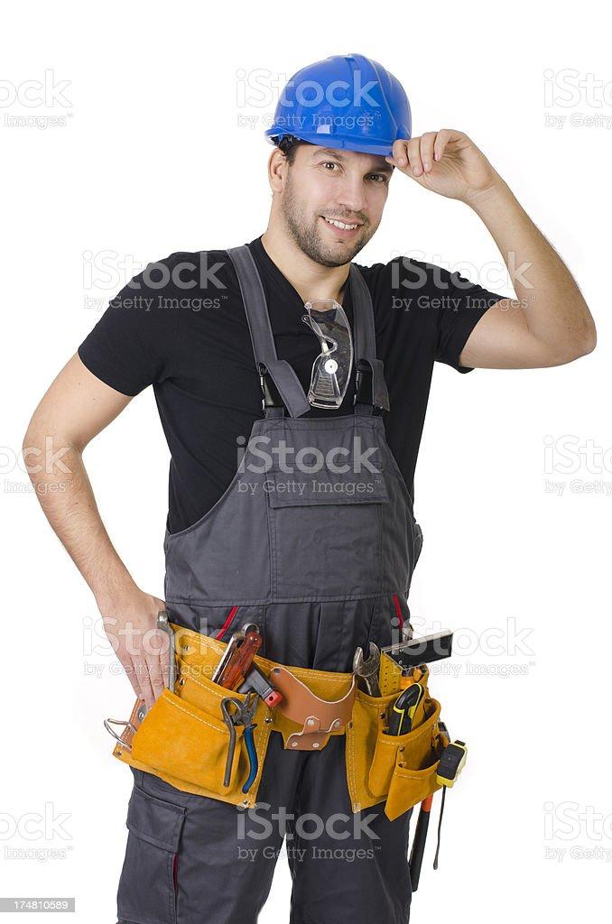 Pleasant handy man, contractor stock photo