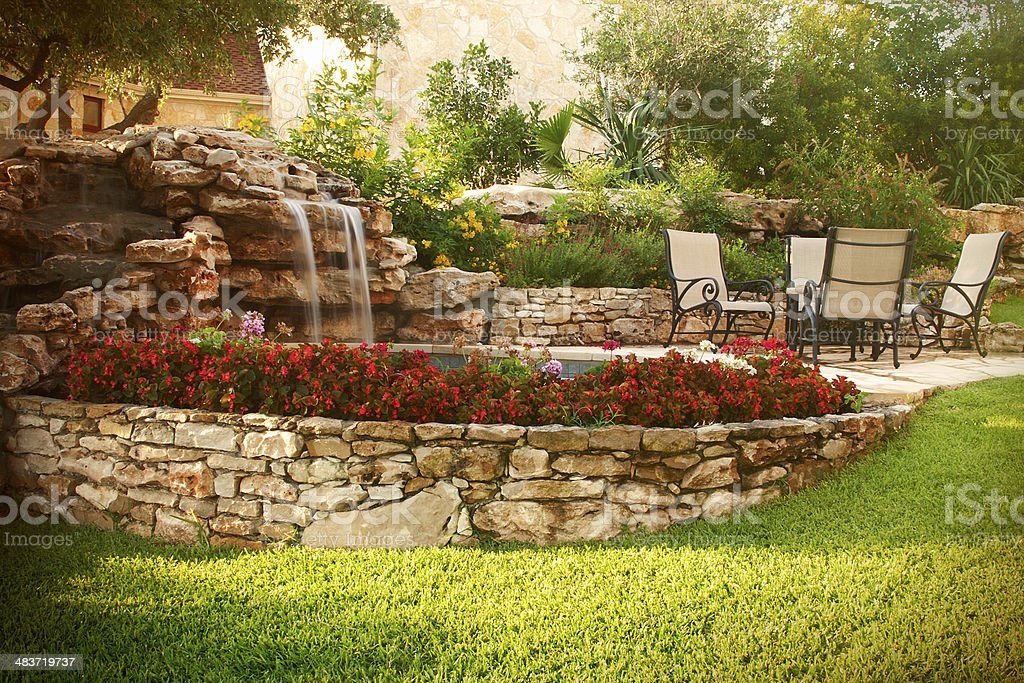 Pleasant Patio with Waterfal stock photo