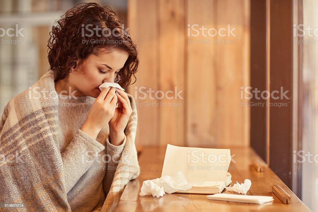 Pleasant woman feeling ill stock photo