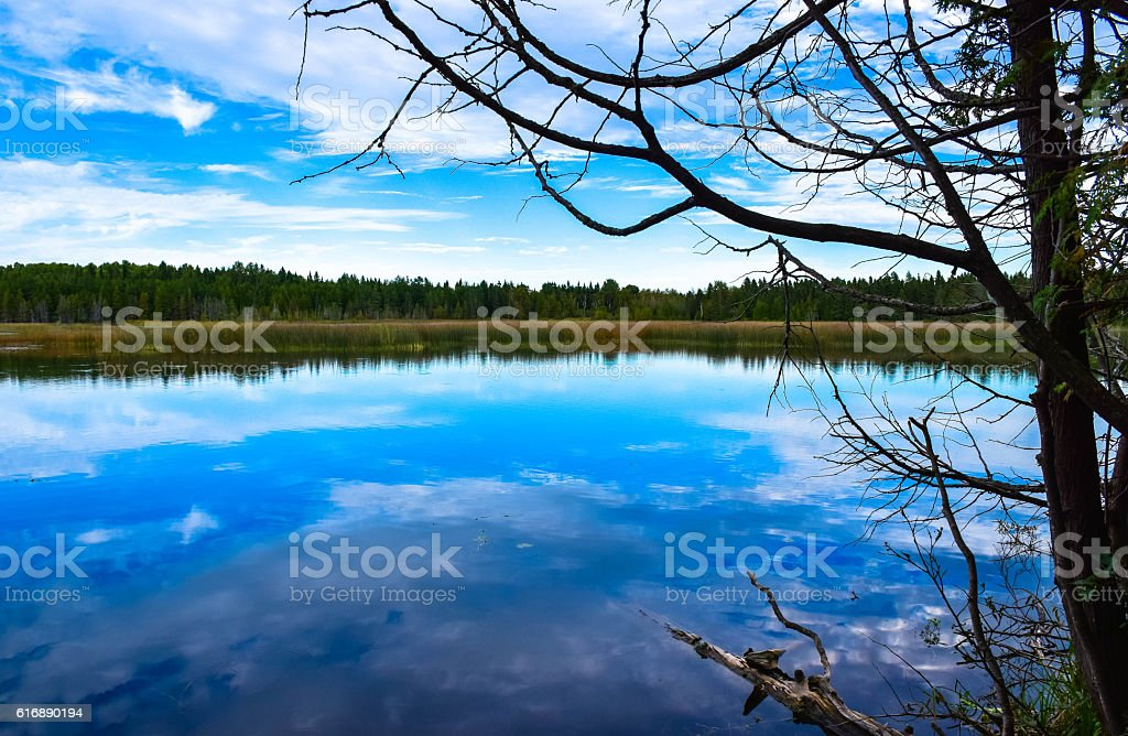 pleasantly calm lake royalty-free stock photo