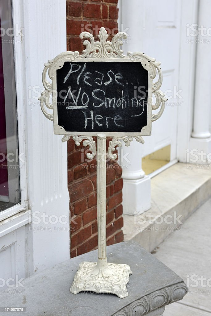 Please No Smoking Here Sign Hand Written royalty-free stock photo