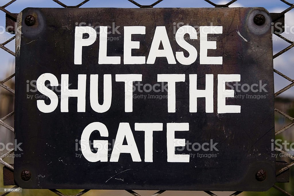 Please shut the gate! stock photo