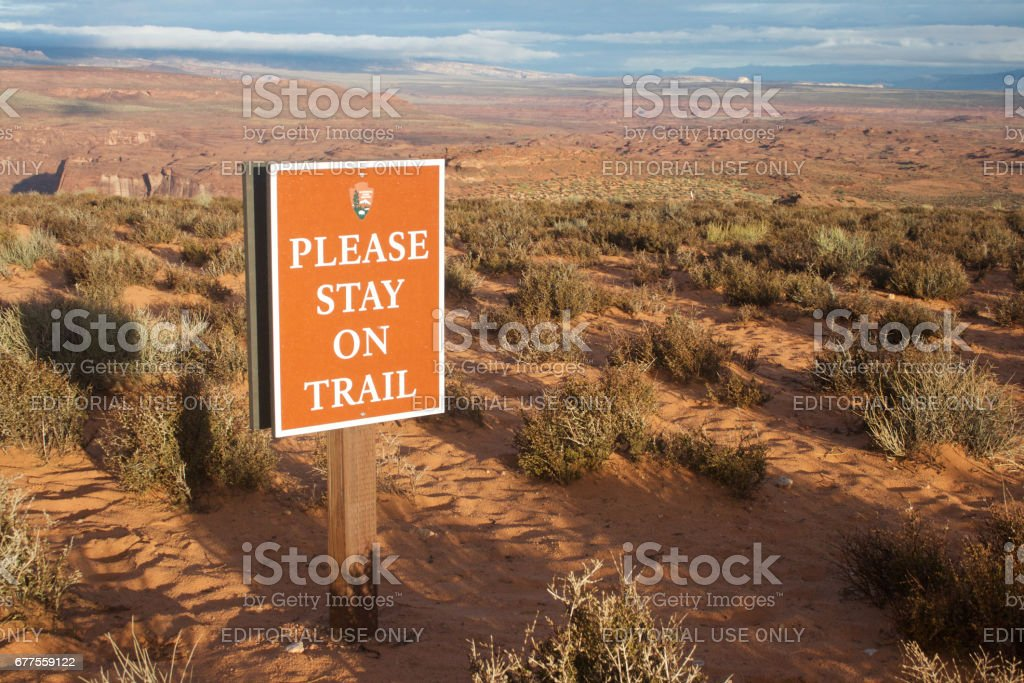 Please stay on trail at horseshoe bend stock photo