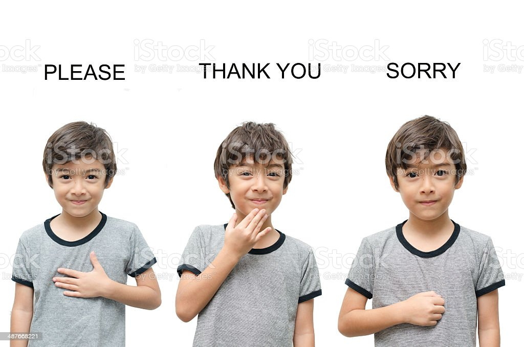 Please, thank you, sorry kid hand sign language stock photo