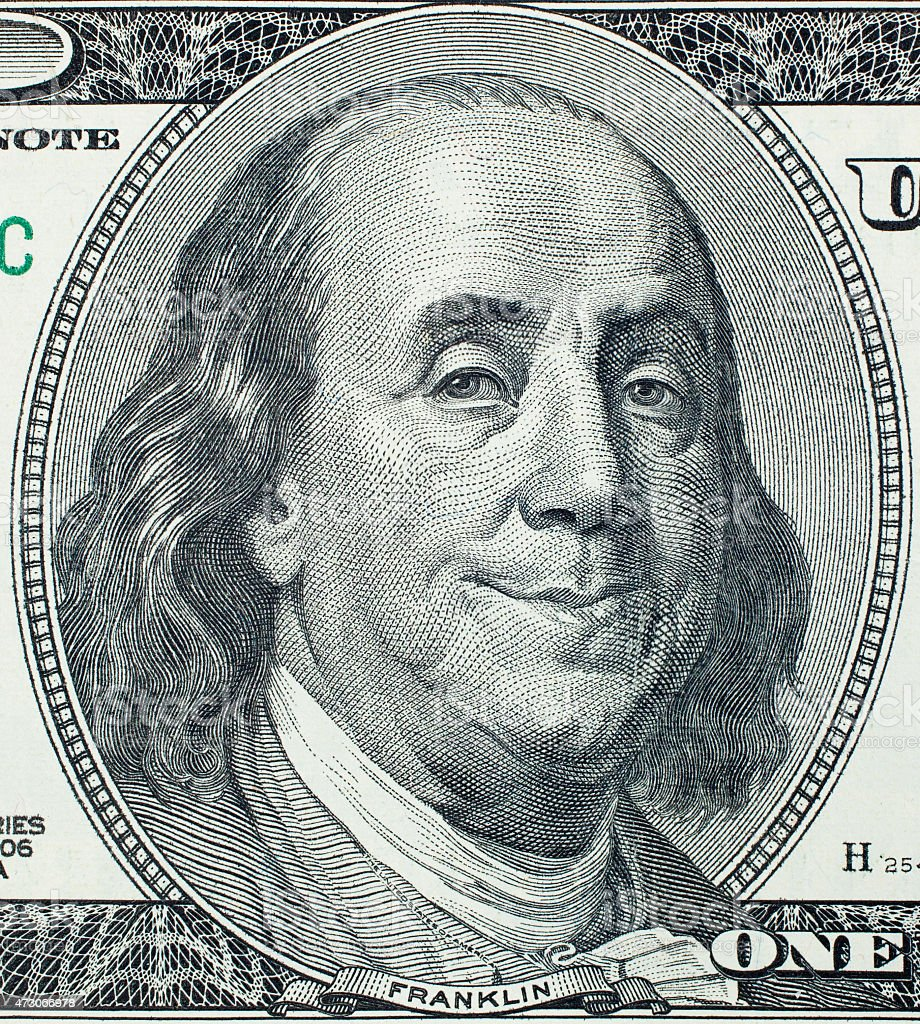 Pleased Benjamin Franklin portrait stock photo