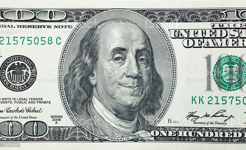 Pleased President Benjamin Franklin stock photo