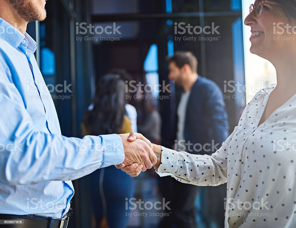 Pleased to finally meet you! stock photo