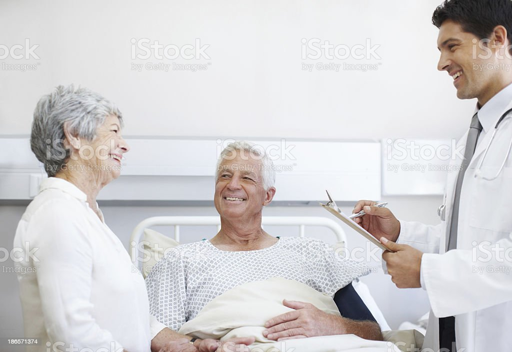 Pleased to say his condition has improved royalty-free stock photo