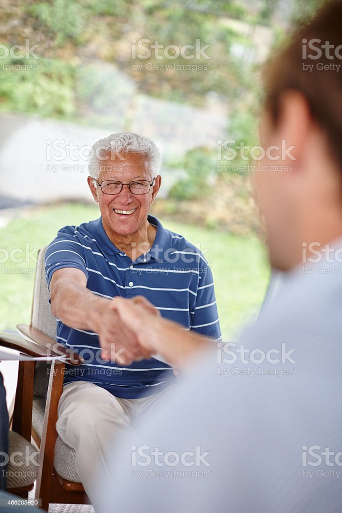 Pleased with good advice stock photo