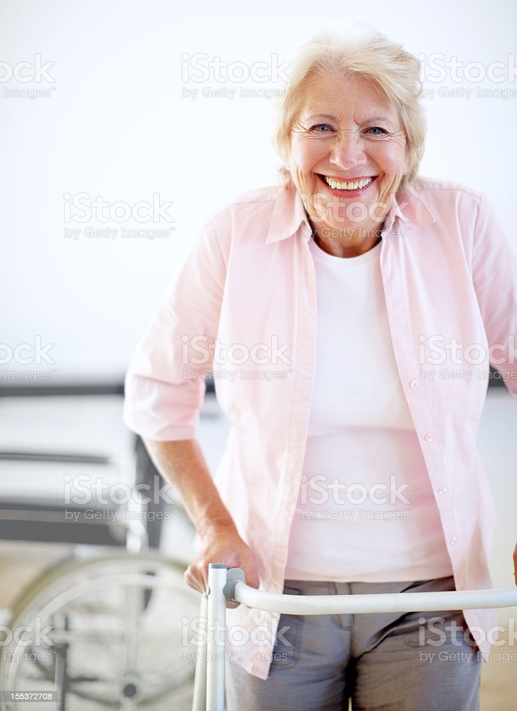 Pleased with her progress! royalty-free stock photo
