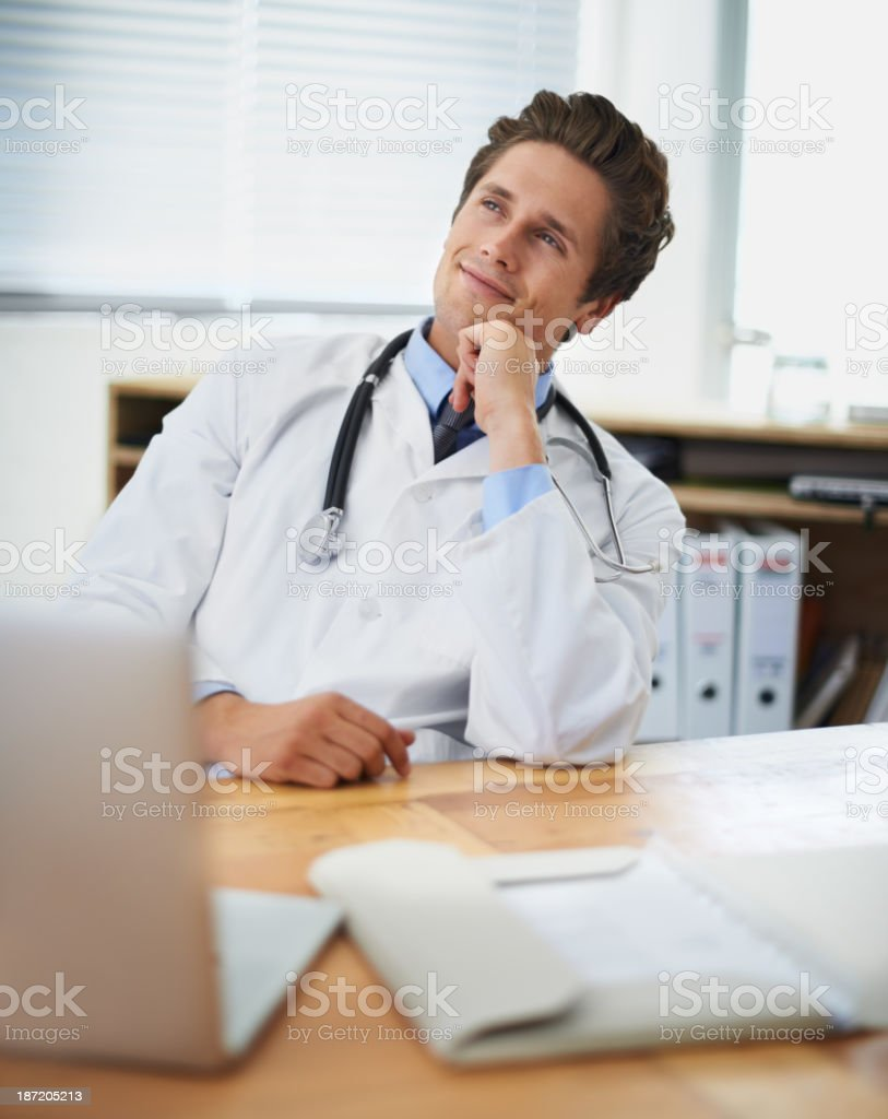 Pleased with his patient's progress royalty-free stock photo