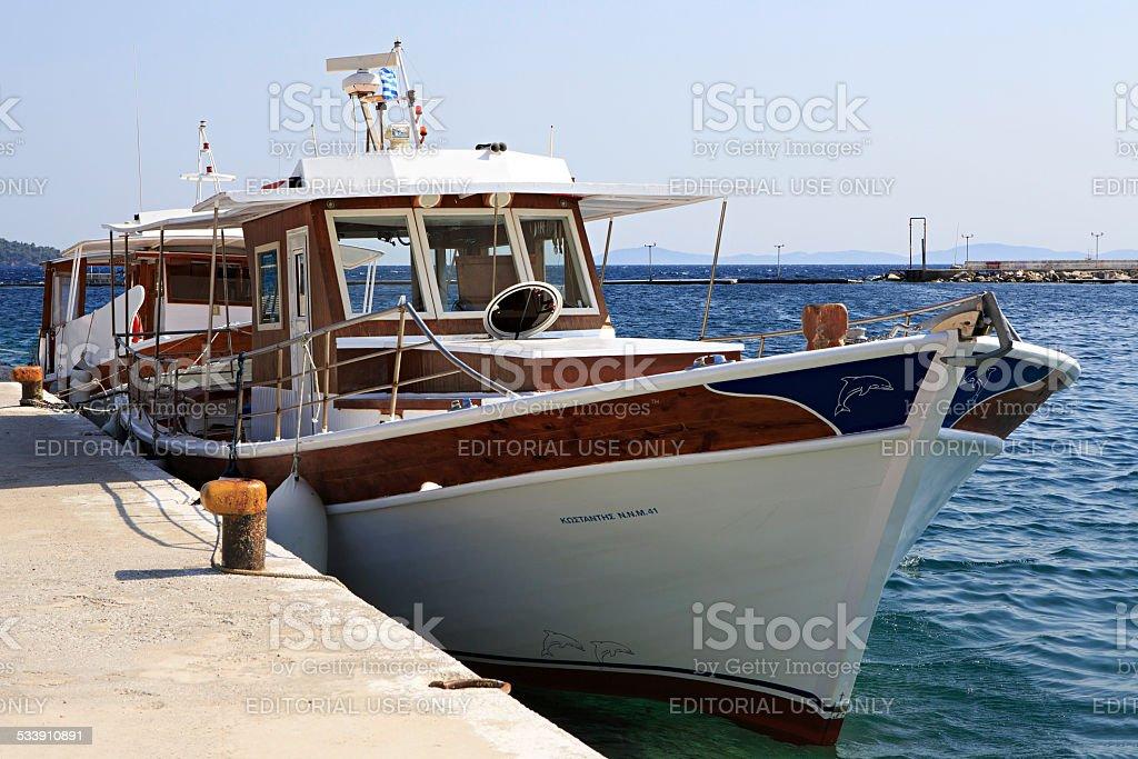 Pleasure boat in the Aegean Sea stock photo