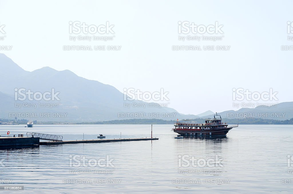 Pleasure boat in the Bay of Tivat, Montenegro stock photo