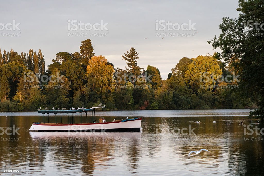 Pleasure boat on mere at Ellesmere Shropshire stock photo