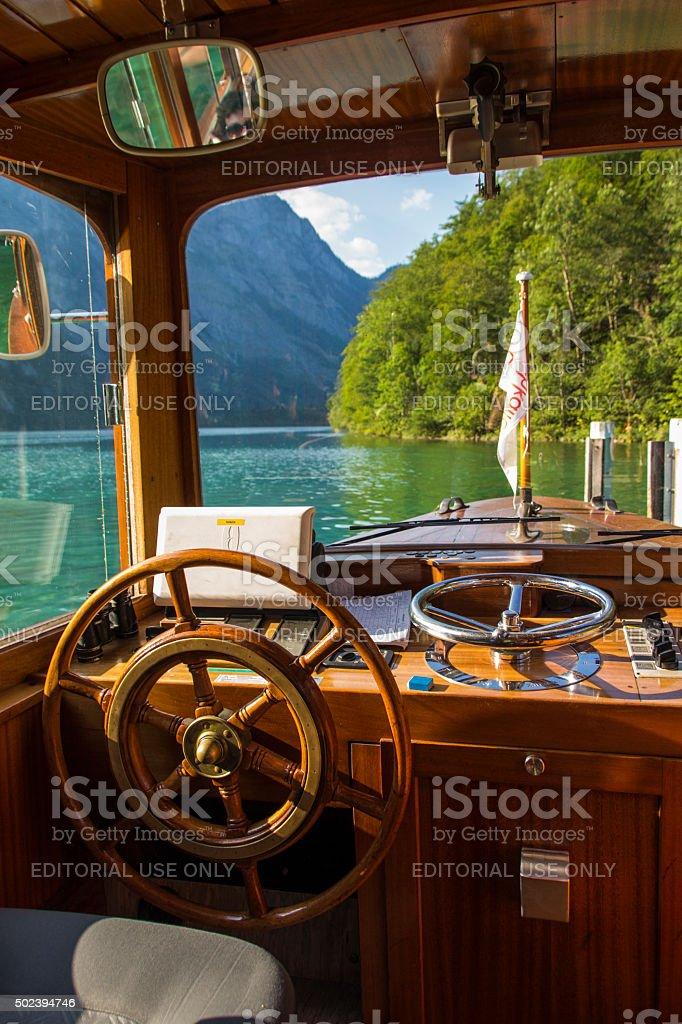 Pleasure boat on the Koenigssee lake close to Berchtesgaden, Ger stock photo