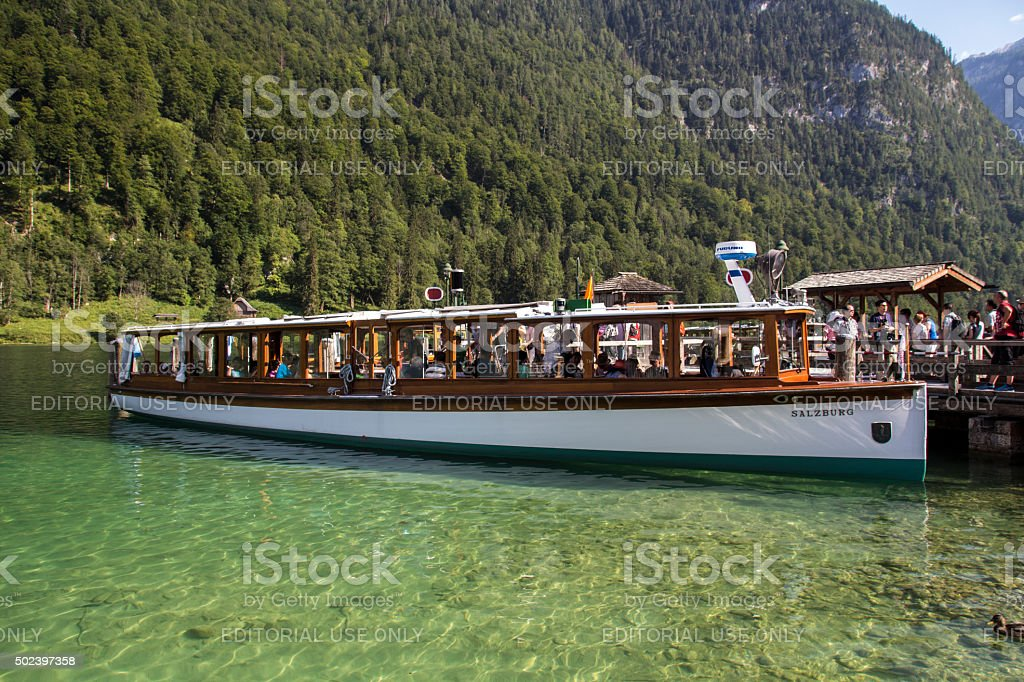 Pleasure boat on the Koenigssee lake close to Berchtesgaden, Germany stock photo
