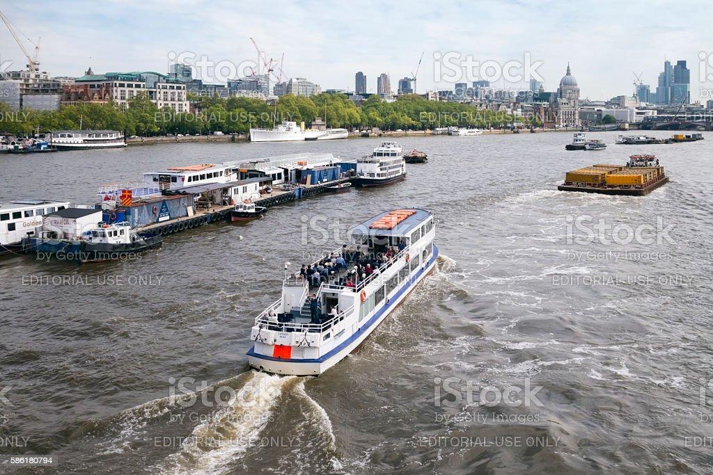 Pleasure boat on the River Thames, London stock photo