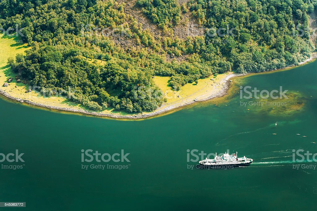 Pleasure Boat Ship Are Sailing Between Fjords. Amazing Nature  Norwegian stock photo
