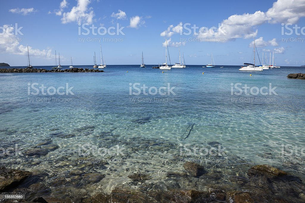 Pleasure Boats in Bay, Pointe du Bout, Martinique, Caribbean royalty-free stock photo