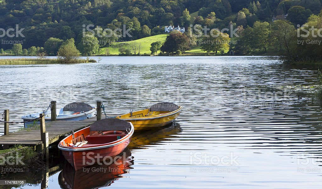Pleasure Boats Moored at Grasmere, Lake District, UK stock photo