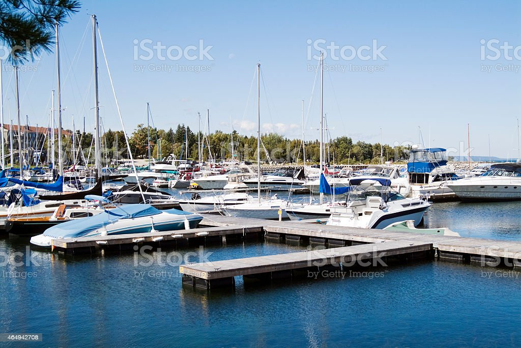Pleasure Boats Moored in Thornbury Harbour on Georgian Bay stock photo
