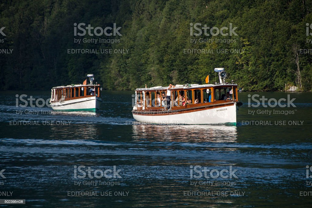 Pleasure boats on the Koenigssee lake close to Berchtesgaden, Germany stock photo
