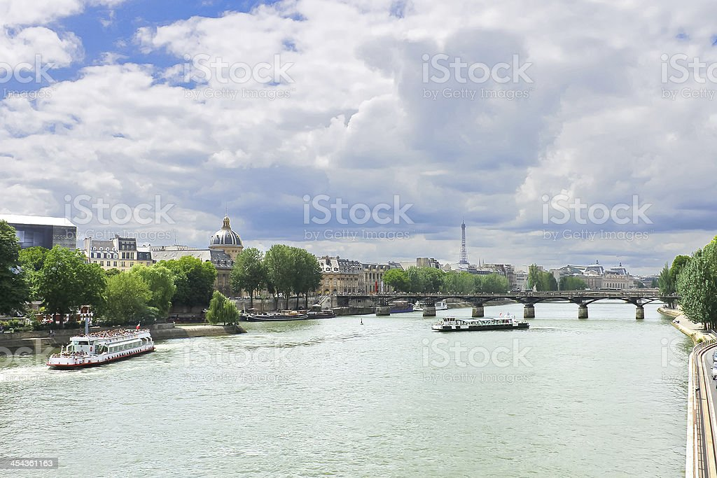 Pleasure boats on the Seine in Paris. France royalty-free stock photo