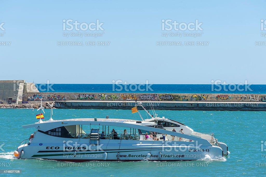 Pleasure craft sailing in Barcelona stock photo