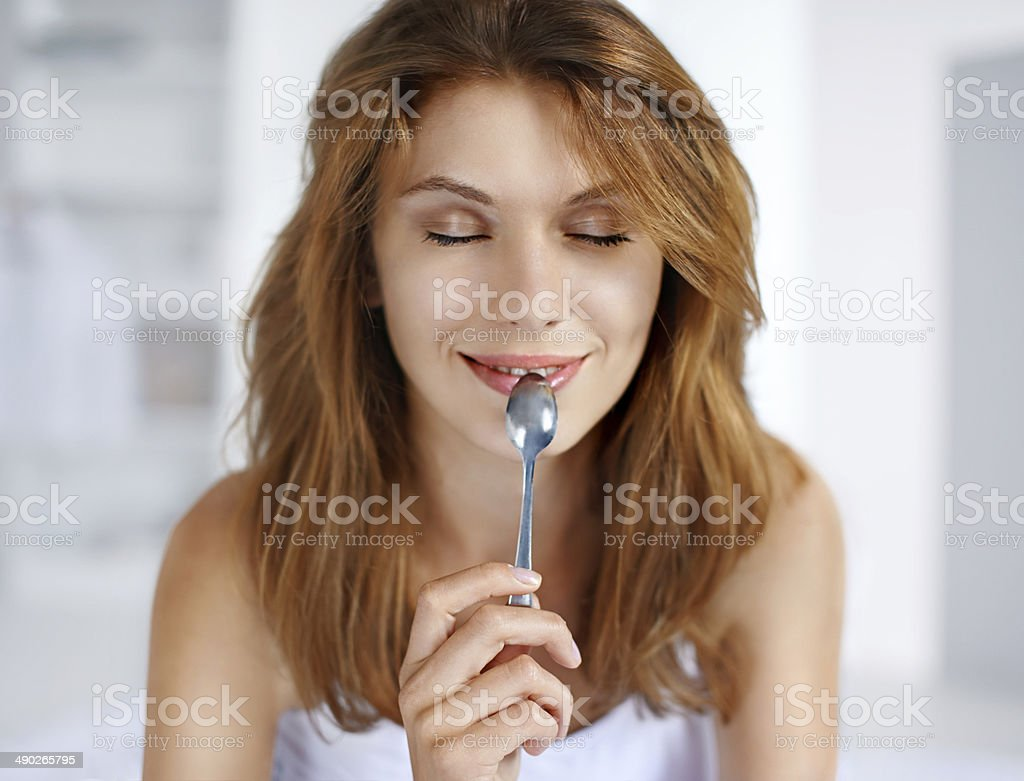 Pleasure from eating stock photo