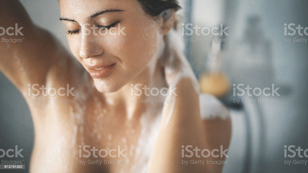 Pleasure of a shower. stock photo