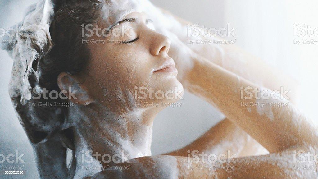 Pleasure of a shower. stock photo