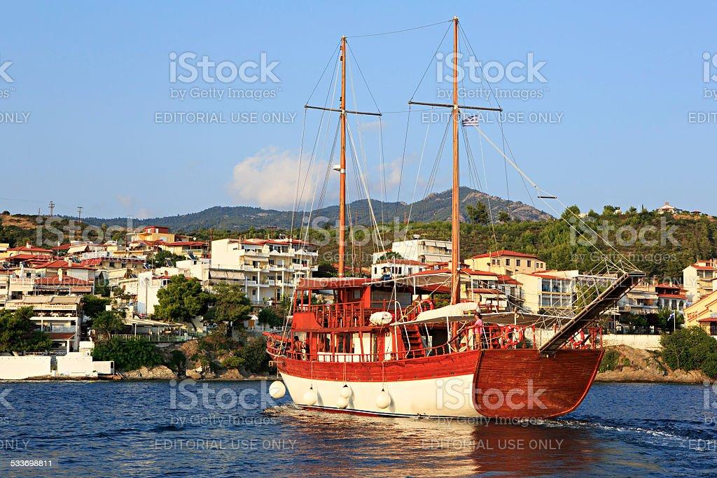 Pleasure yacht in the Aegean Sea stock photo